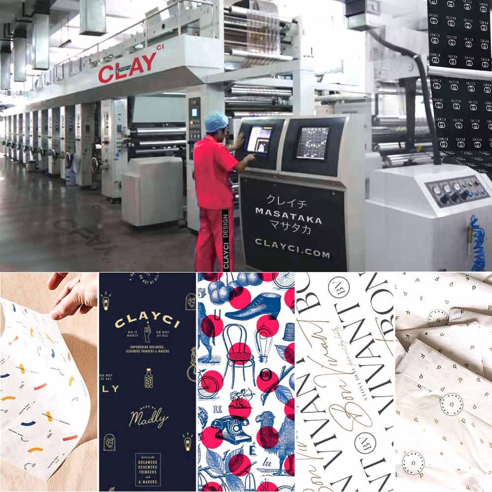 รับผลิตกระดาษไขบางพิมพ์ลาย WAX PAPER ใช้สำหรับห่อเสื้อ ห่อกระเป๋า ห่อรองเท้า ห่อสินค้า กระดาษขาวบาง กระดาษ Tissue paper แบรนด์ของคุณจะดูดีขึ้นอีกระดับ ใช้กระดาษไขบาง WAX PAPER สำหรับห่อเสื้อ ห่อกระเป๋า ห่อรองเท้า ห่อสินค้า เหมือนที่เคาท์เตอร์แบรนด์ใช้กัน โรงงานรับผลิตกระดาษบางห่อของของเราใช้วัสดุเกรด A สีไม่ตก สามารถนำไปห่อเสื้อ ห่อรองเท้า ห่อกระเป๋า หรือ ห่อสินค้าพรีเมี่ยมได้ทุกชนิด Luxury Premium Products ยกความมีระดับแบรนด์ของสินค้าให้ดูมีมูลค่ามากยิ่งขึ้นกว่าเดิม โดยปกติแล้วโรงงานรับผลิตให้กับทางญี่ปุ่น และแบรนด์ที่มีชื่อเสียง เช่น ผลิตกระดาษไขบางห่อกระเช้าเครื่องสำอาง ESTEE LAUDER สาขาฮ่องกง , PAUL สาขาฝรั่งเศส , BIOTHERM HK
